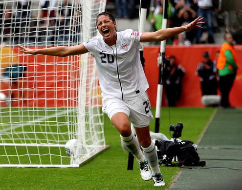Abby Wambach of the USA celebrates as her side takes a 1-0 lead during the FIFA Women's World Cup 2011 Semi Final match between France and USA at Borussia Park on July 13, 2011 in Moenchengladbach, Germany. (Getty Images)